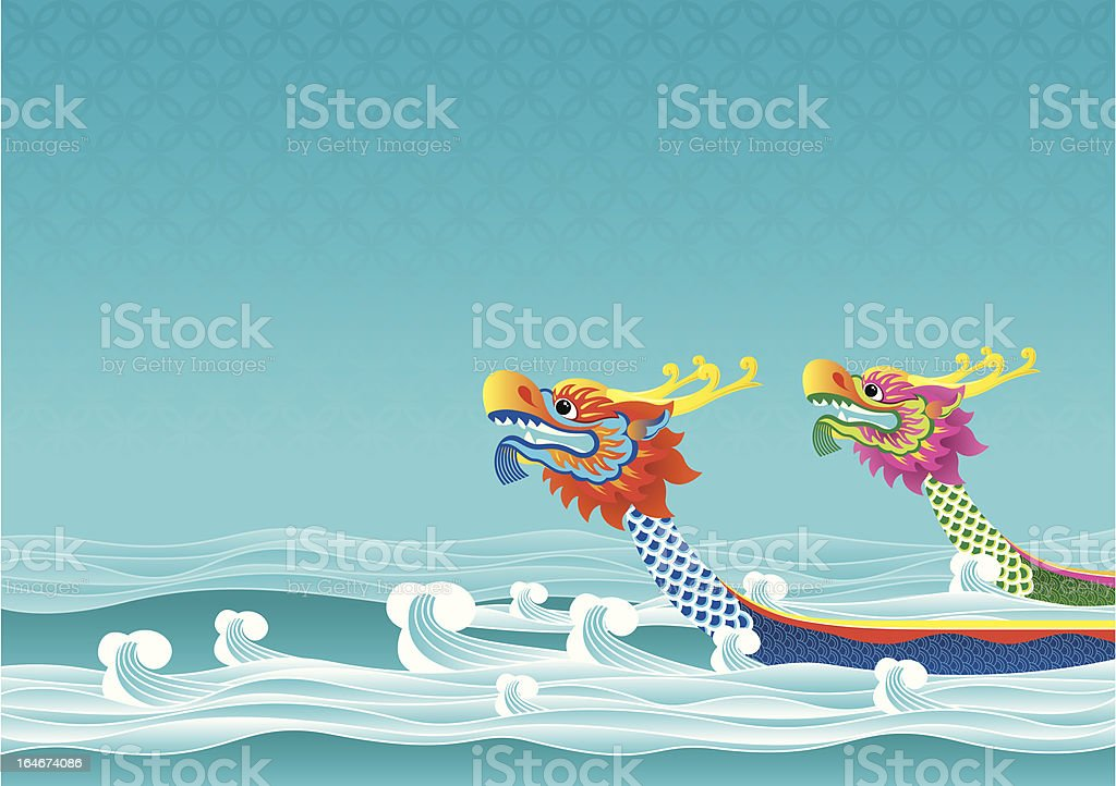 Illustrated Asian dragon boats on the water royalty-free stock vector art