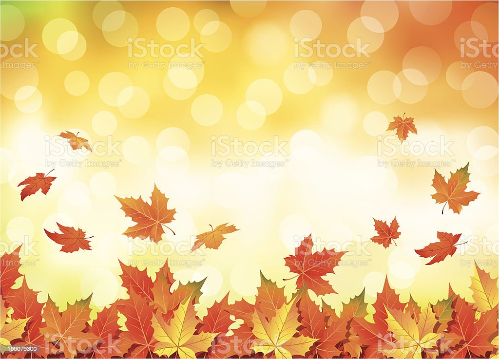 Illustrated autumn falling leaves background vector art illustration