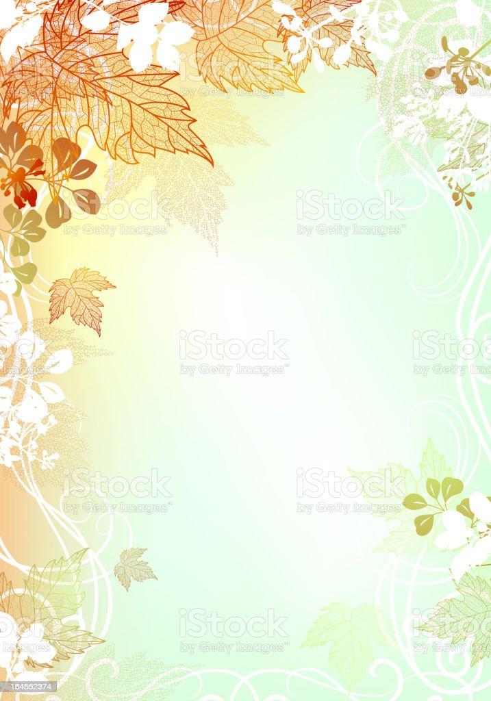 Illustrated autumn leaf border background royalty-free stock vector art