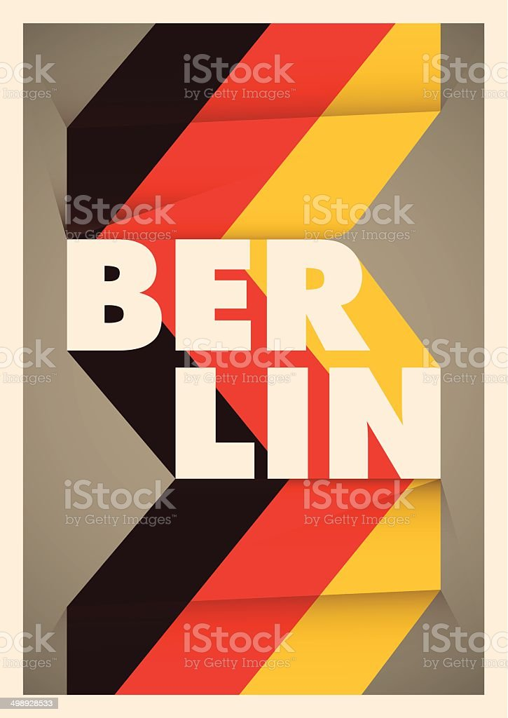 Illustrated Berlin poster with typography. vector art illustration