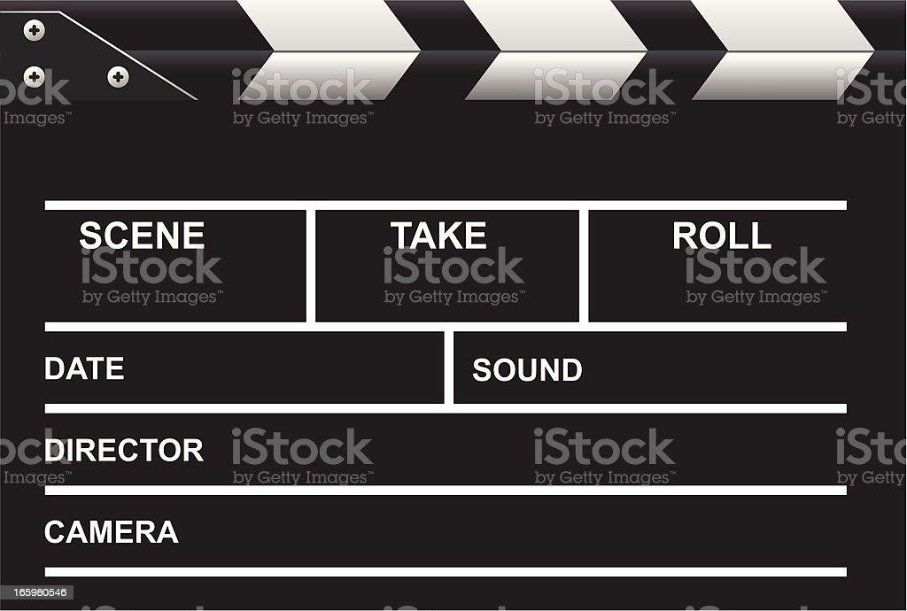 Illustrated blank movie blackboard vector art illustration