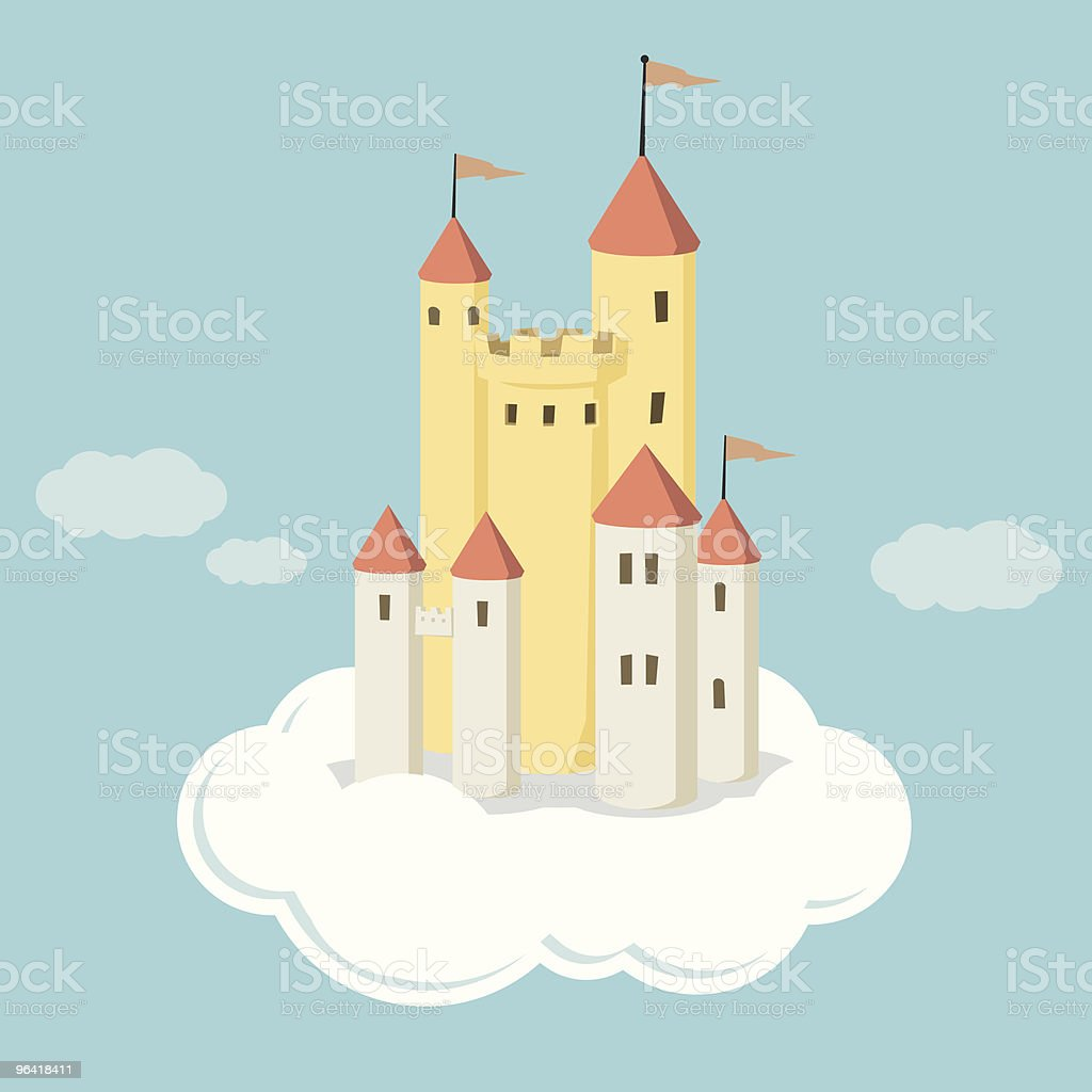 Illustrated castle on cloud in the air vector art illustration