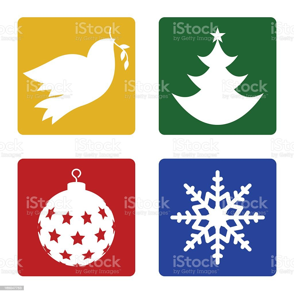 Illustrated Christmas icons in basic colors vector art illustration