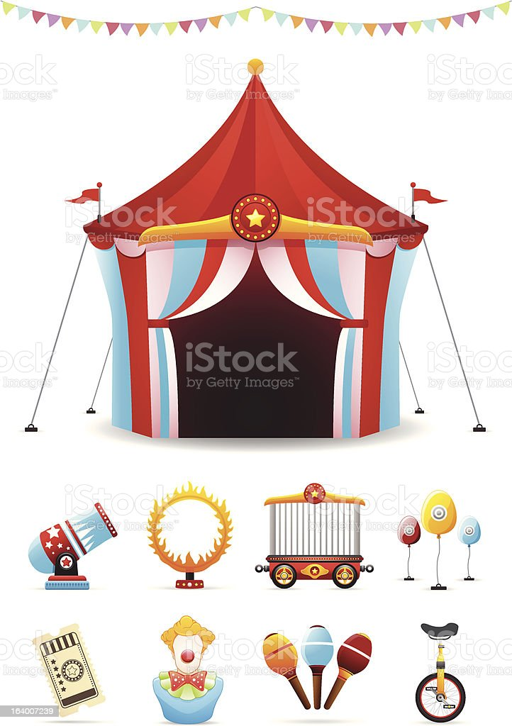 Illustrated circus tent and banner with circus icons set royalty-free stock vector art