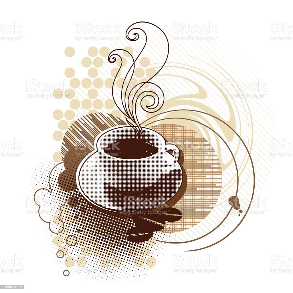 Illustrated coffee cup with abstract coffee bean background vector art illustration