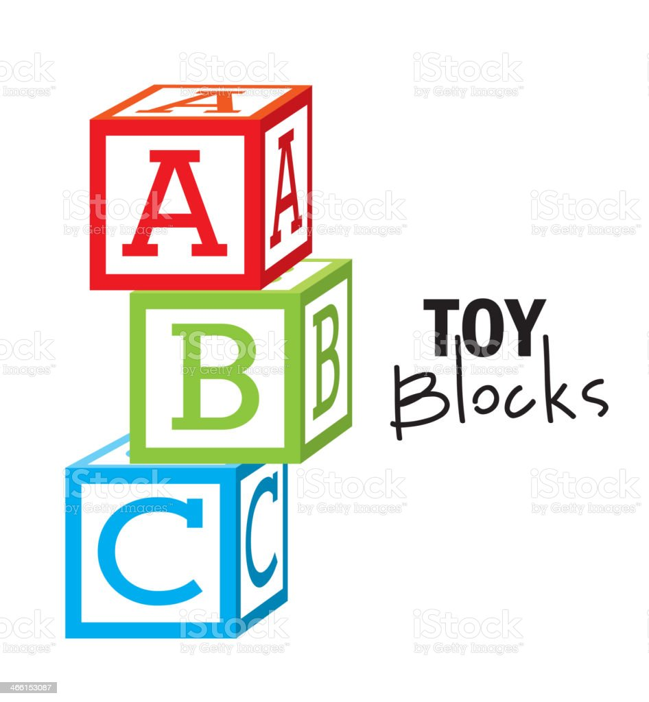 Illustrated colorful ABC toy blocks vector art illustration