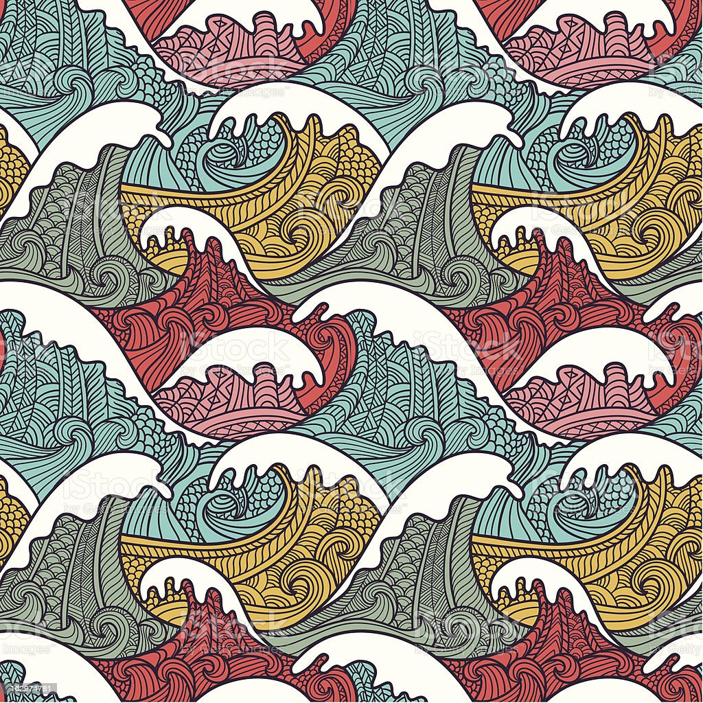 Illustrated colorful seamless wave pattern royalty-free stock vector art