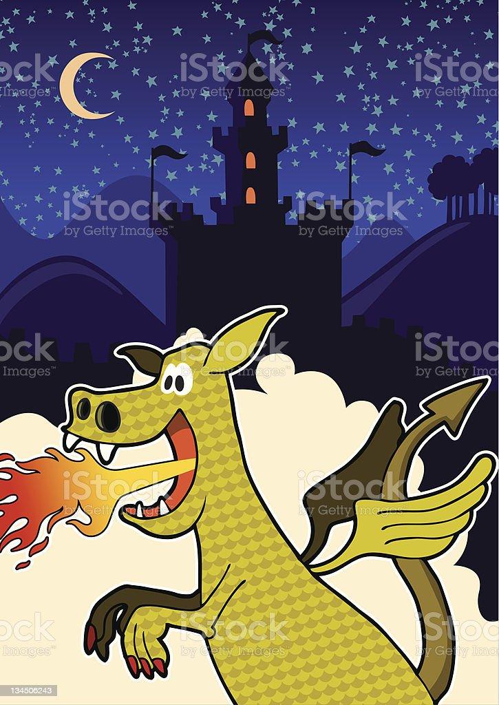 Illustrated comic dragon. stock photo