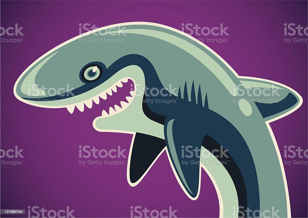 Illustrated comic shark. royalty-free stock vector art
