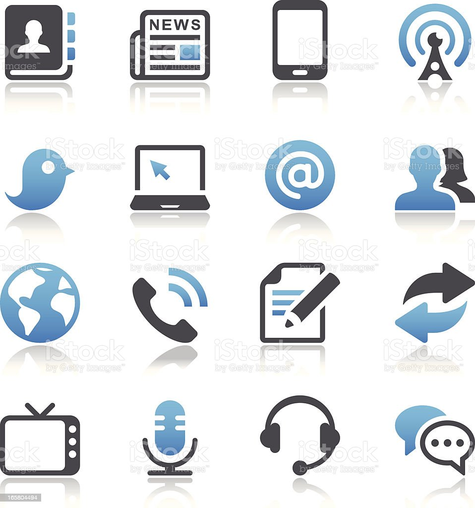 Illustrated communication and media icon set vector art illustration