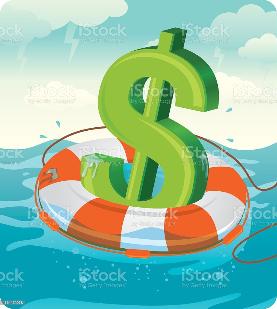 Illustrated concept of green dollar sign on life preserver vector art illustration