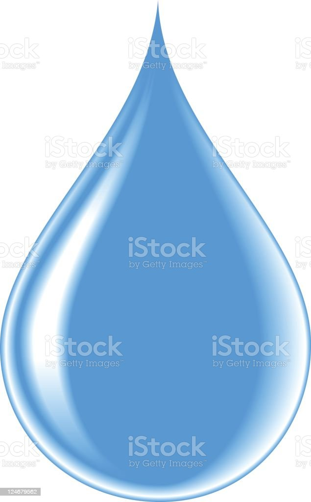Illustrated droplet of water on white background royalty-free stock vector art