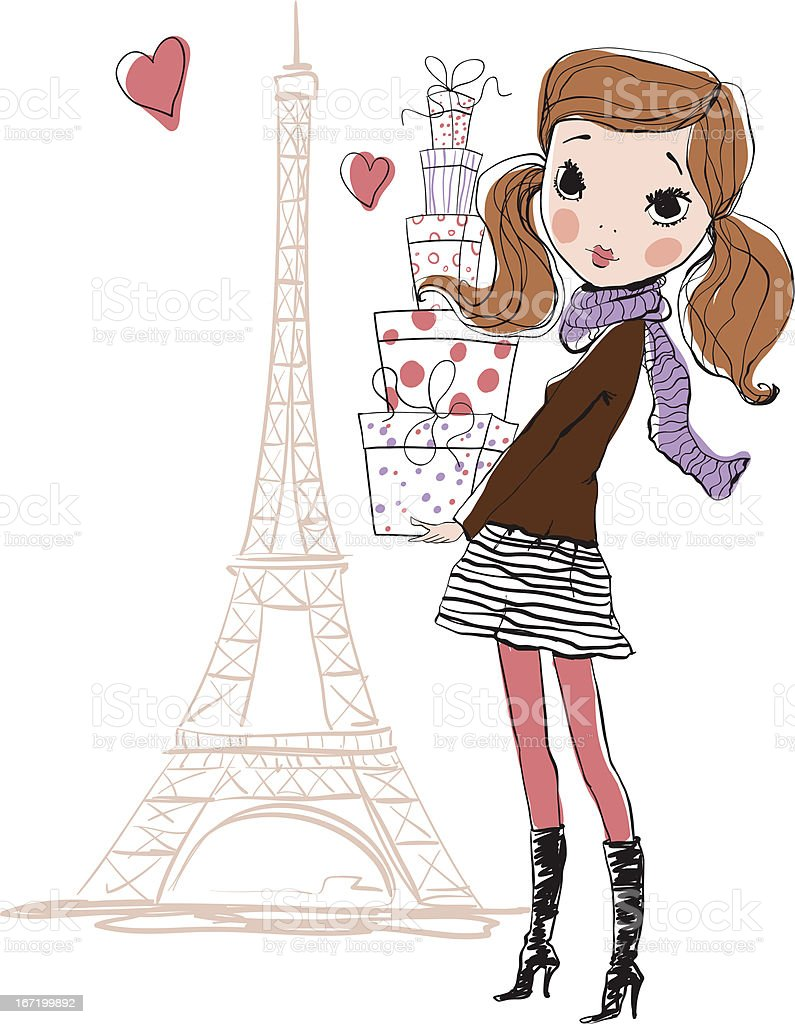 Illustrated fashionista posing near Eiffel Tower with boxes royalty-free stock vector art
