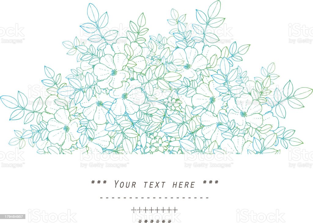 Illustrated flower line drawing with text space royalty-free stock vector art