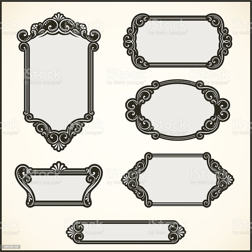 Illustrated frame designs of various sizes and shapes  royalty-free stock vector art