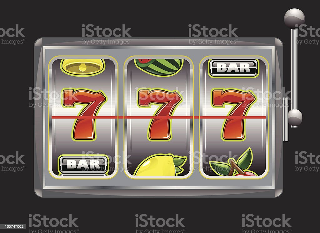 Illustrated graphic of a slot machine with triple 7's vector art illustration