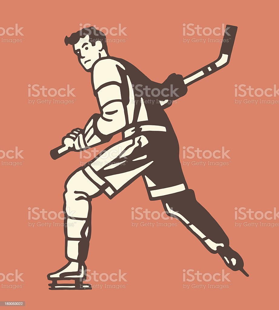 Illustrated graphic of hockey player on orange background royalty-free stock vector art