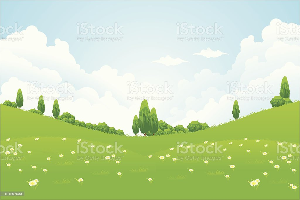 Illustrated green landscape with rolling hills and trees royalty-free stock vector art