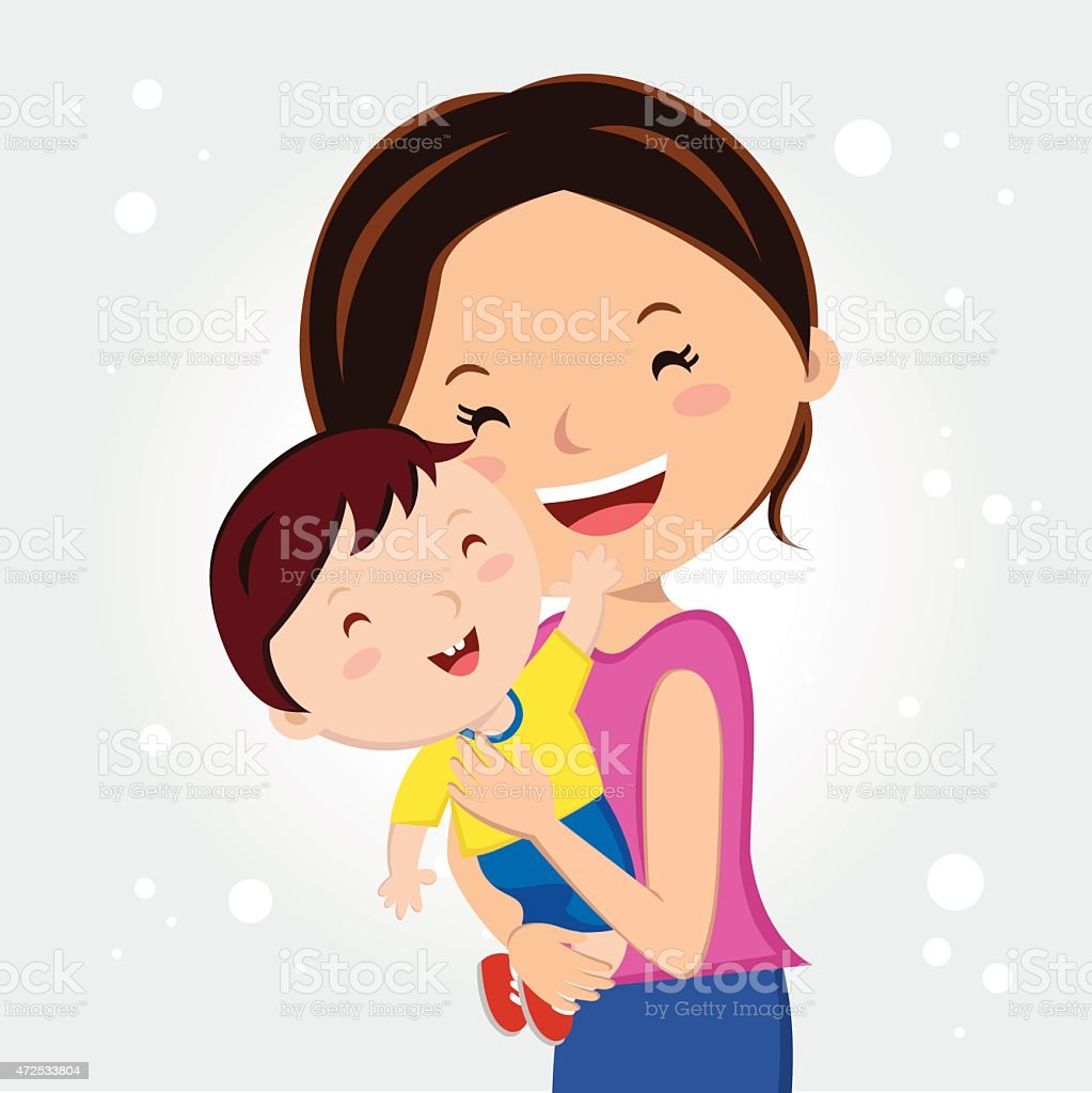 Illustrated happy woman holding her young son vector art illustration