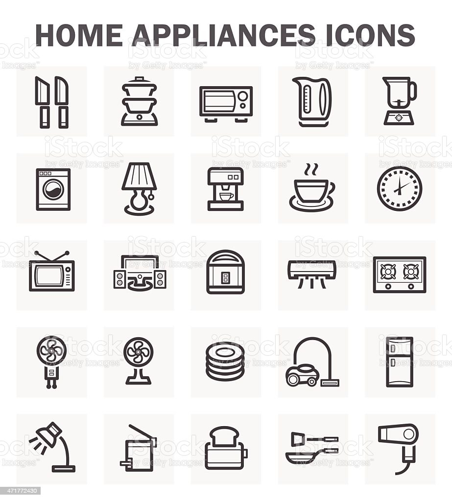 Illustrated home appliance icons against white background vector art illustration