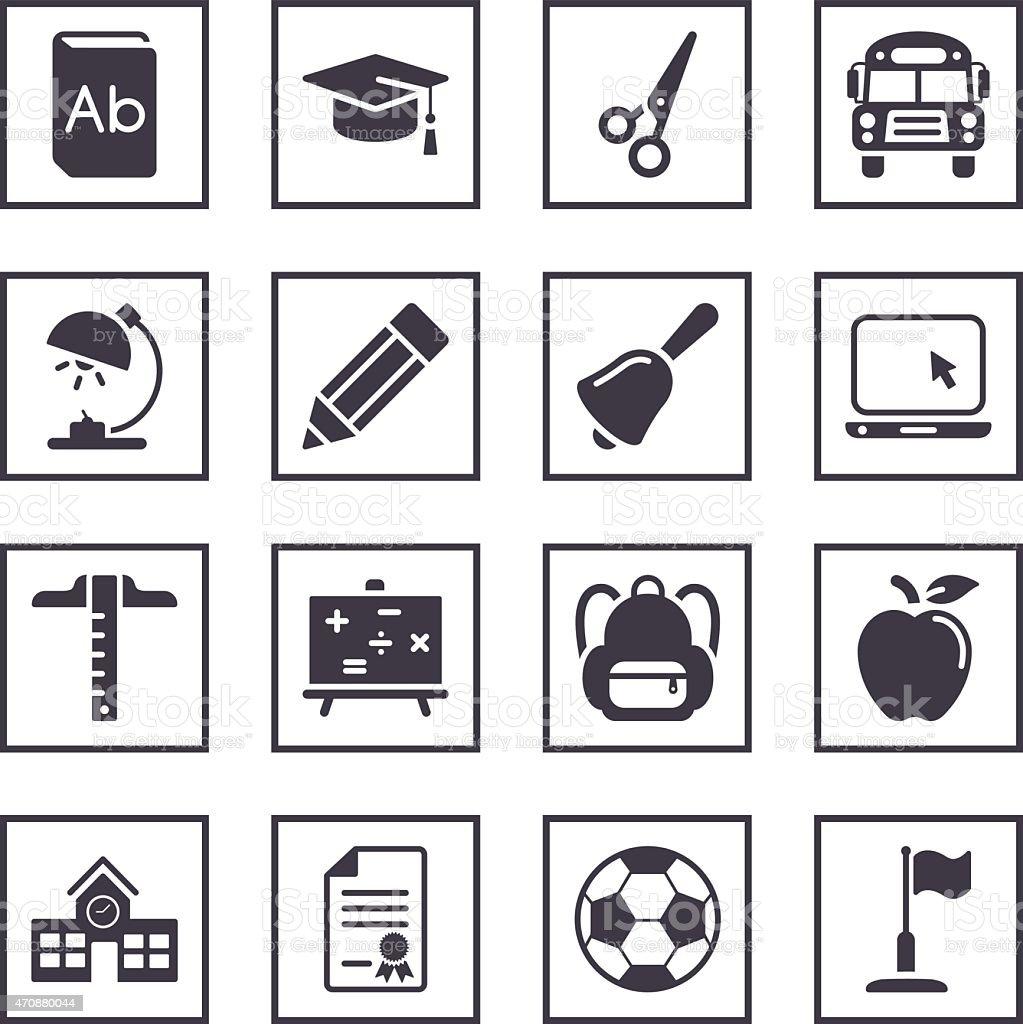 Illustrated icons depicting school symbols vector art illustration