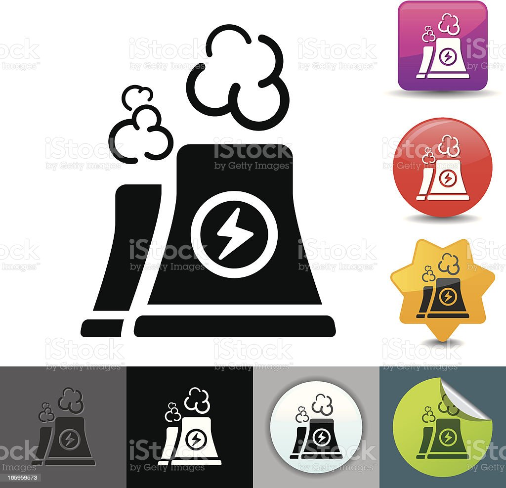 Illustrated icons of a nuclear power plant's cooling towers vector art illustration