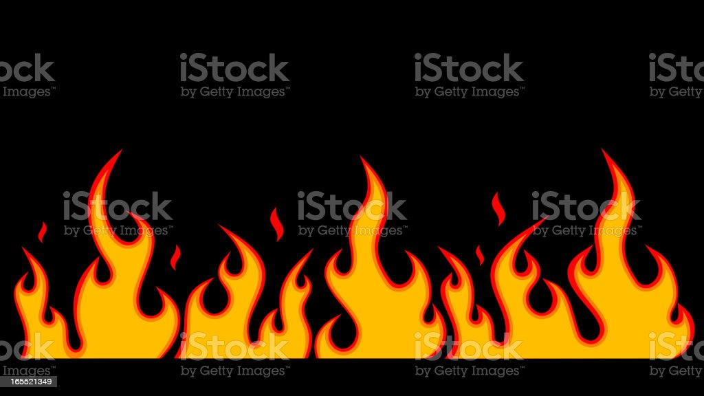 Illustrated image of a flame in front of a black background royalty-free stock vector art
