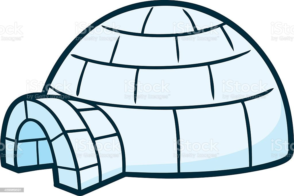 Illustrated image of an igloo on a white background vector art illustration