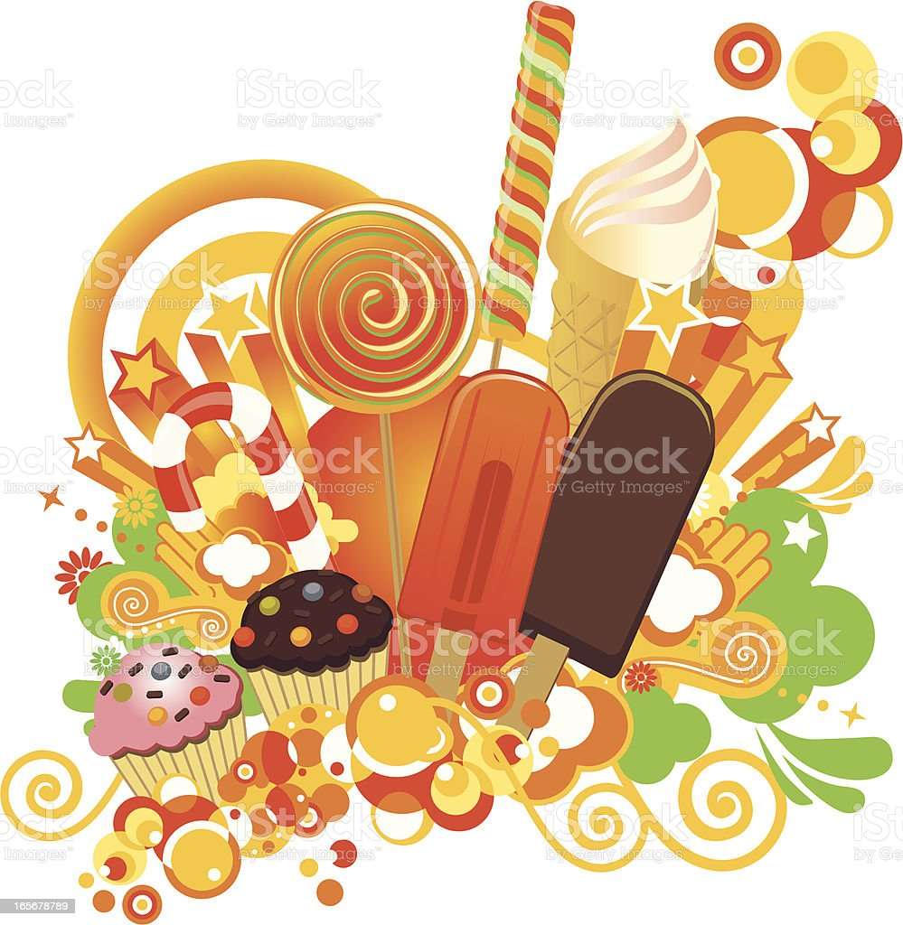 Illustrated image of different sweets royalty-free stock vector art