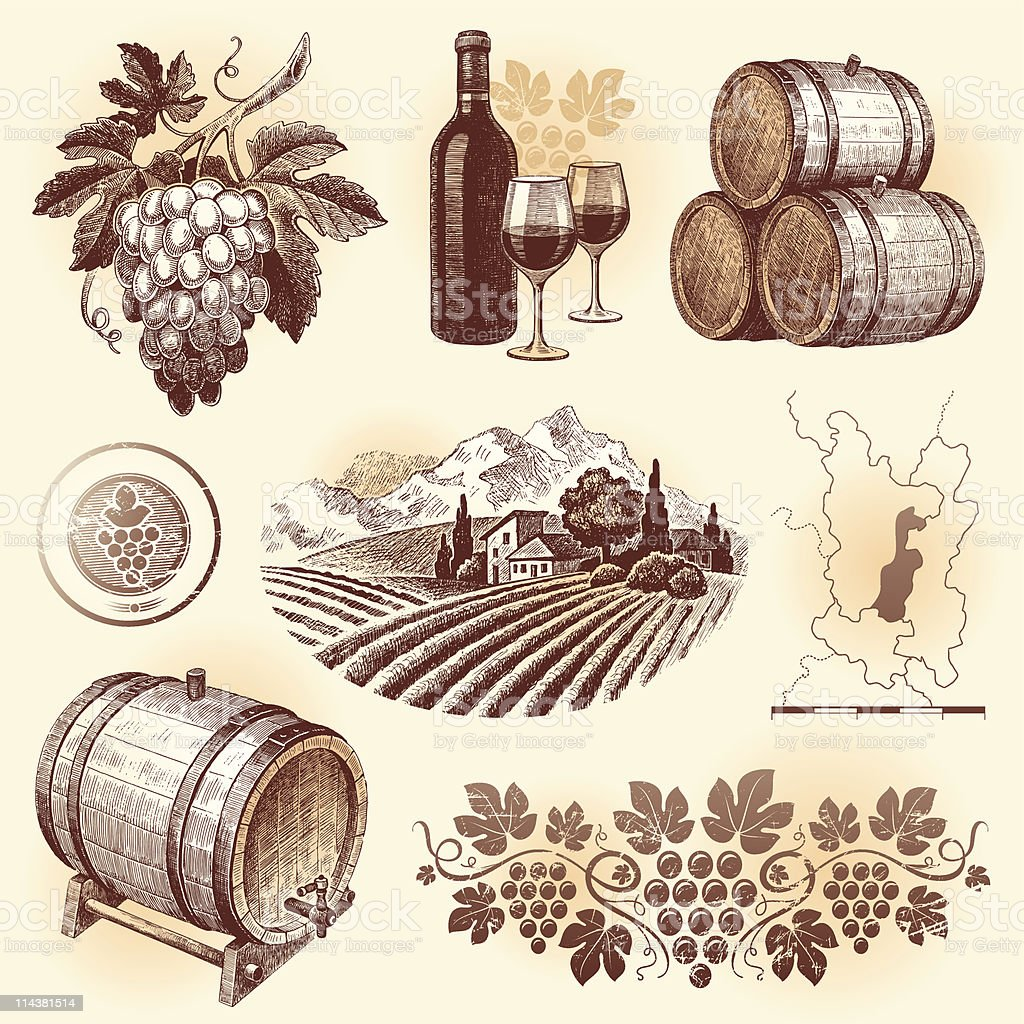 Illustrated images of wine and winemaking in sepia tones vector art illustration