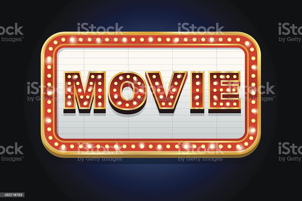 Illustrated lit up movie marquee vector art illustration