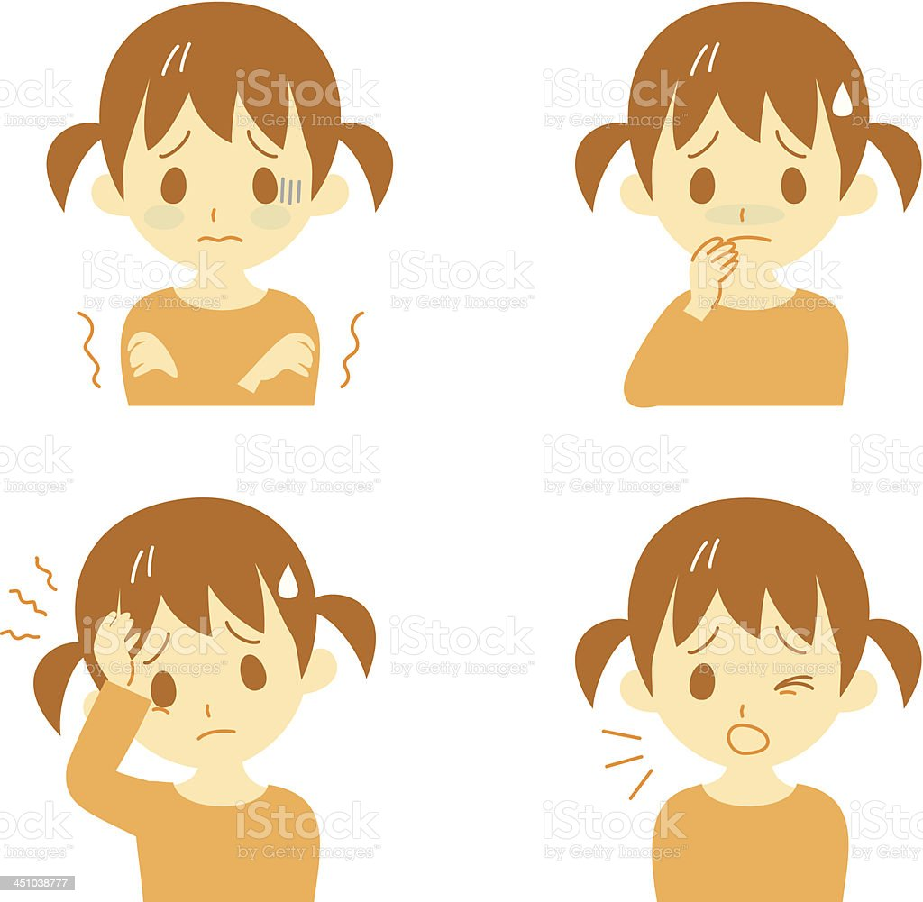 Illustrated little girl displaying illness symptoms royalty-free stock vector art