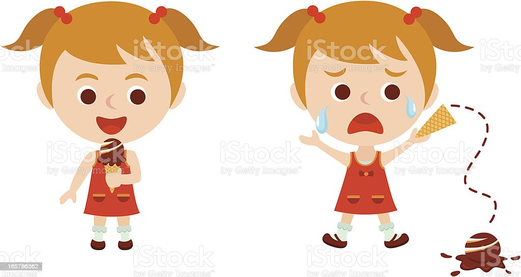Illustrated little girl drops ice cream and cries vector art illustration