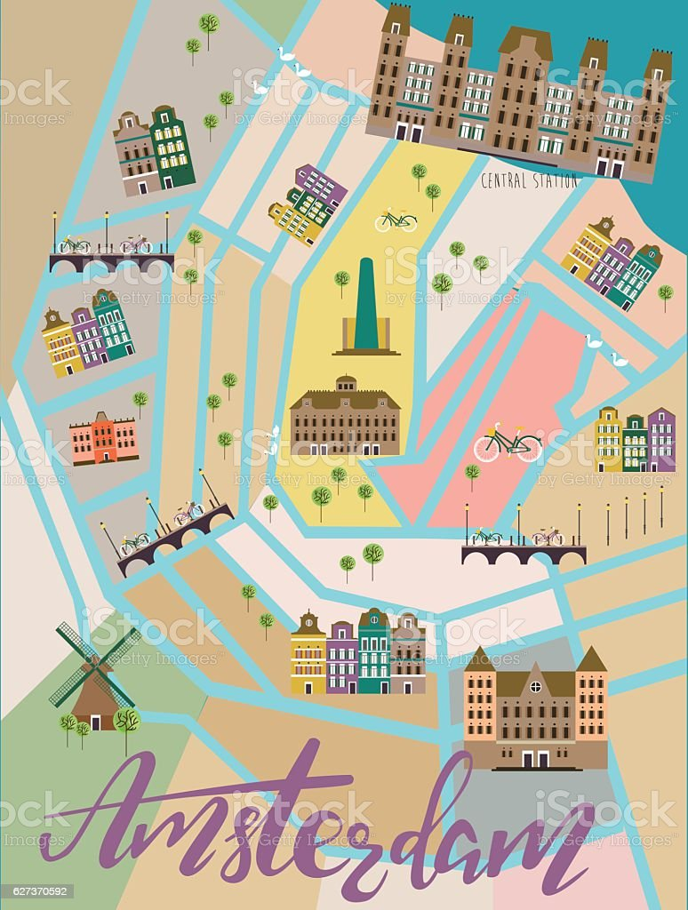 Illustrated map of Amsterdam vector art illustration