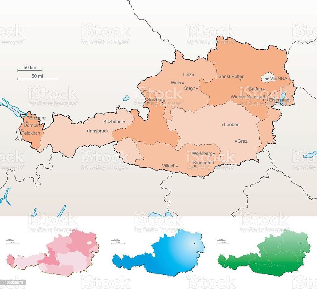 Illustrated map of Austria in multiple colors vector art illustration