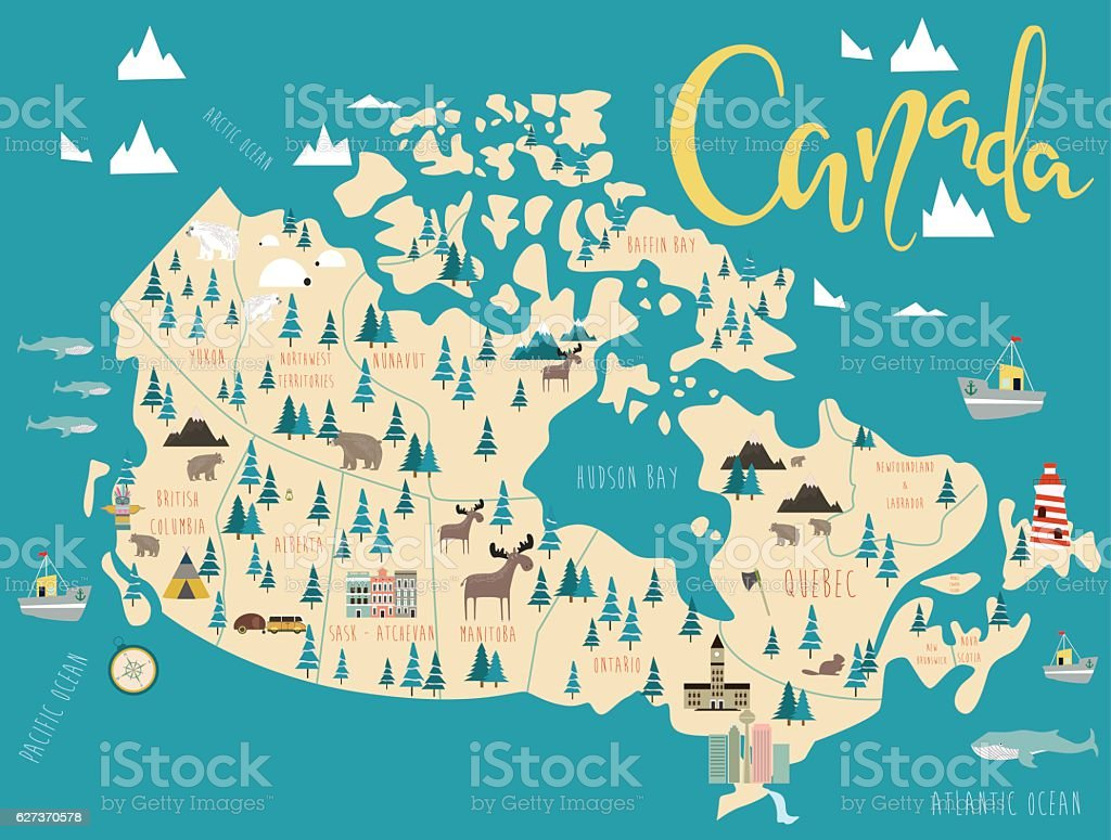 Illustrated map of Canada vector art illustration