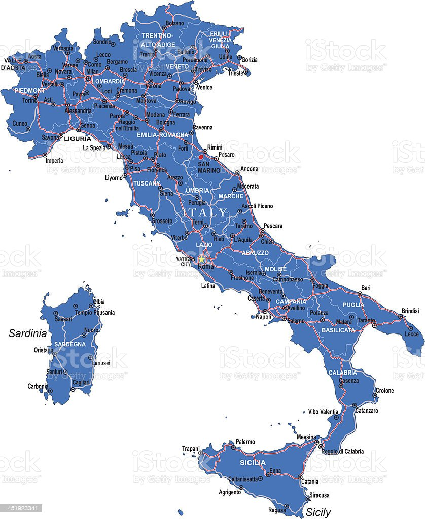 Illustrated map of Italy in blue on white background vector art illustration