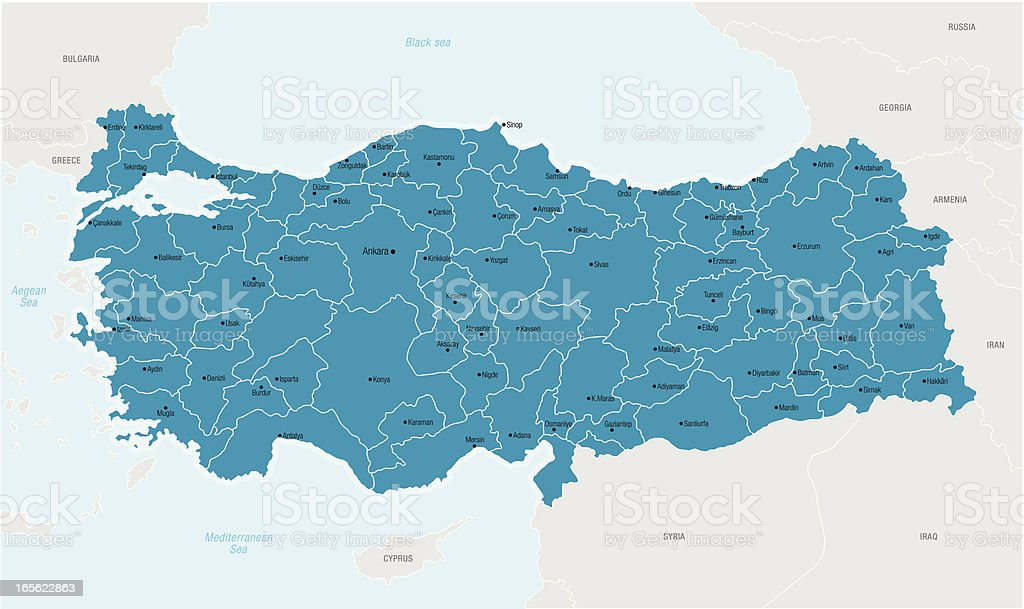 Illustrated map of Turkey in blue royalty-free stock vector art