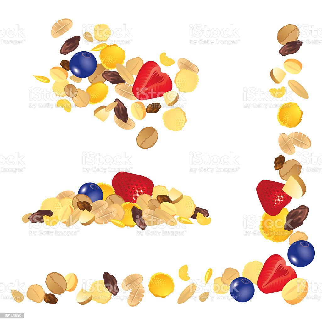 Illustrated mix of berries, oats, and nuts vector art illustration