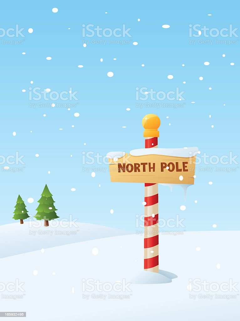 Illustrated North Pole sign in snowy weather royalty-free stock vector art