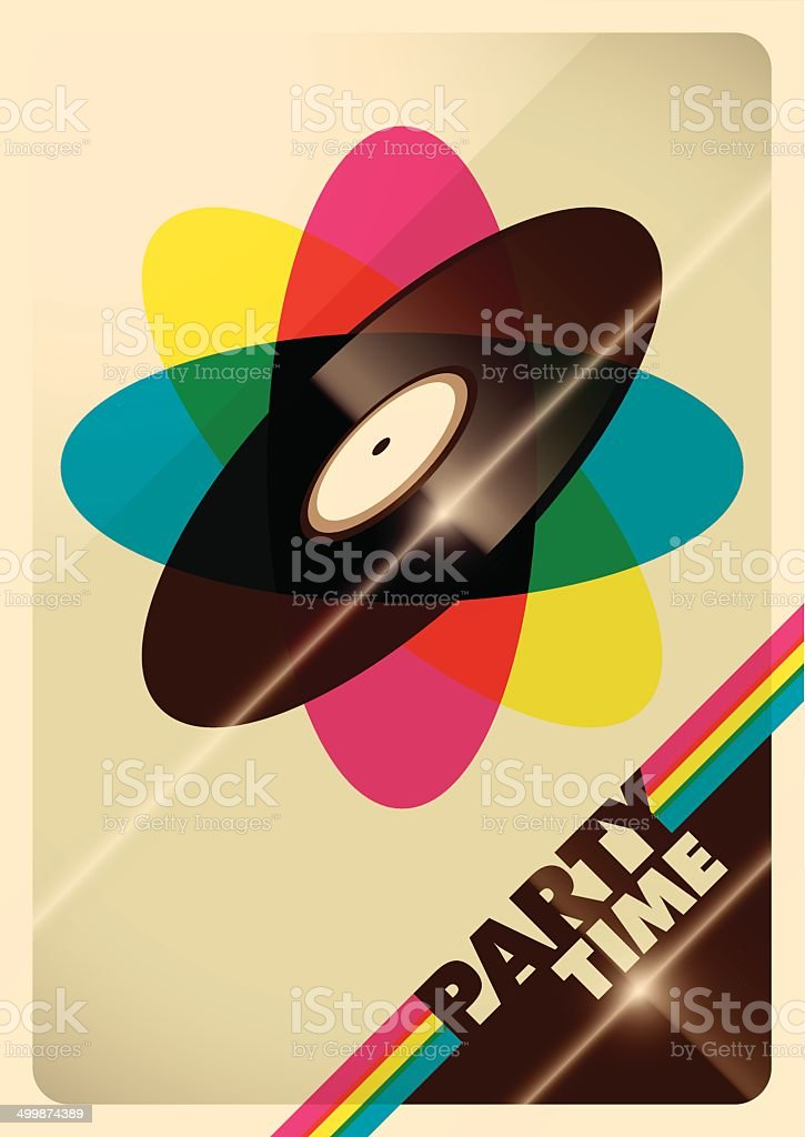 Illustrated party time poster with vinyl. vector art illustration