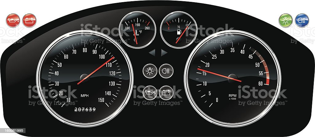 Illustrated photo is a car dashboard royalty-free stock vector art