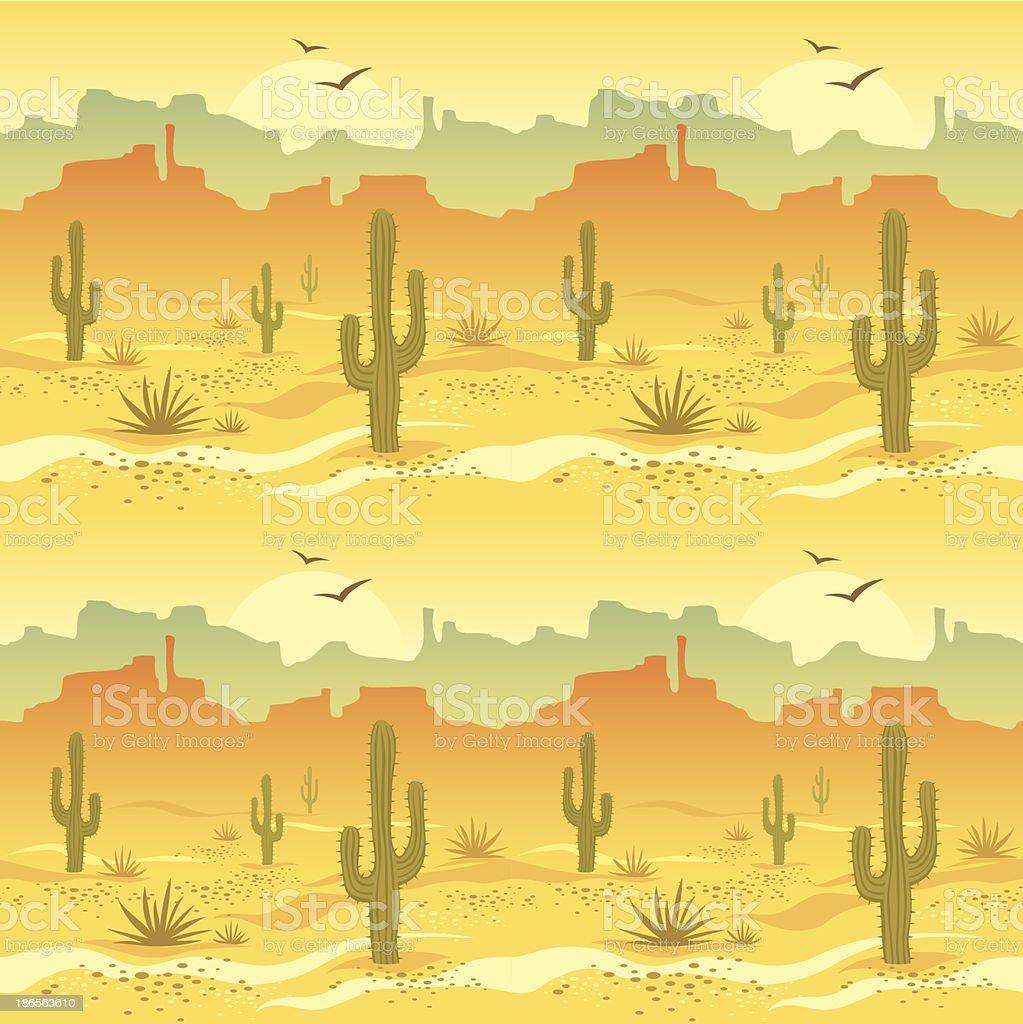 Illustrated picture of desert landscape vector art illustration