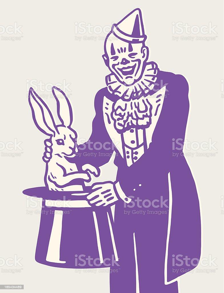 Illustrated purple clown magician royalty-free stock vector art