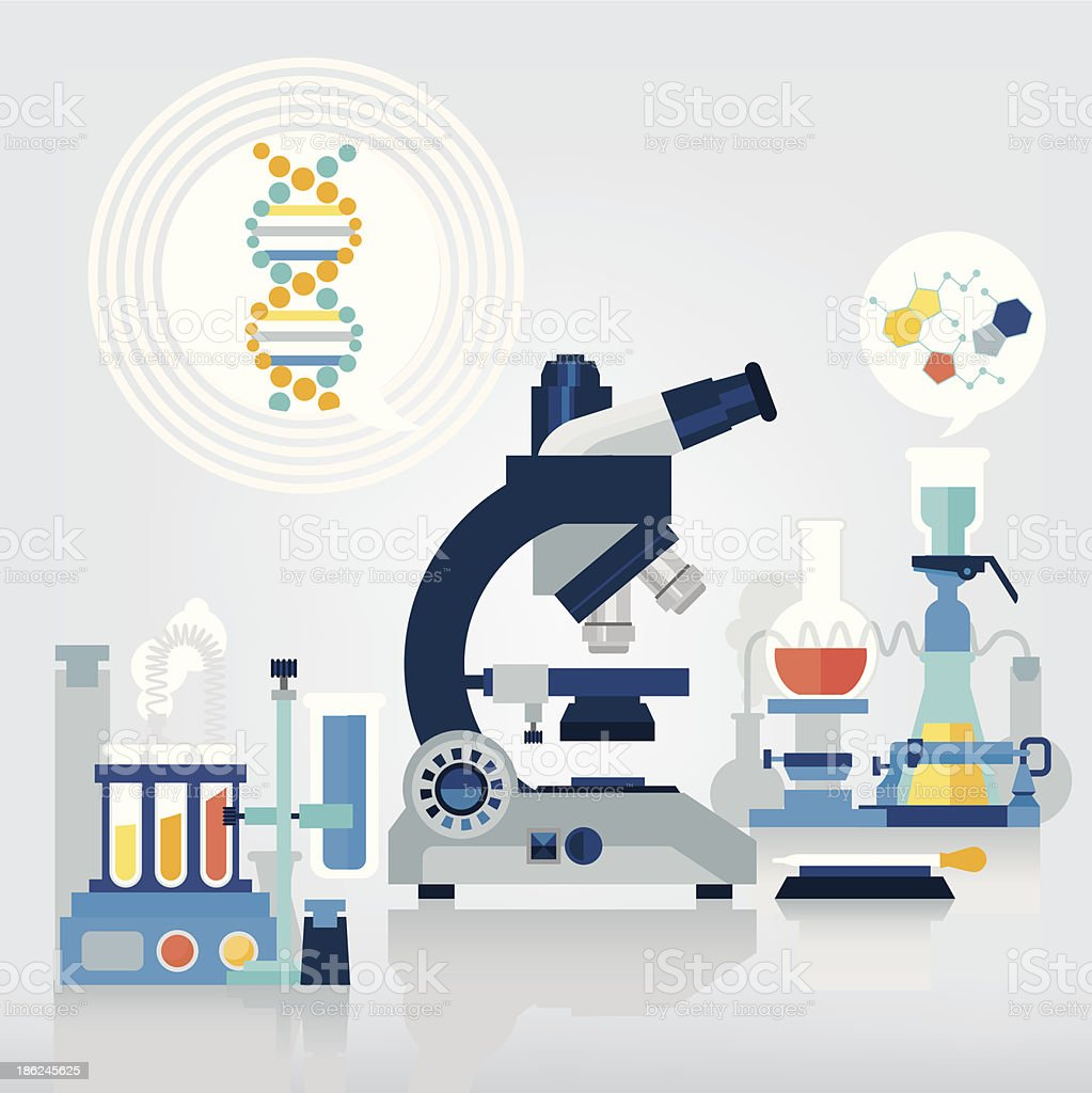 Illustrated science laboratory equipment vector art illustration