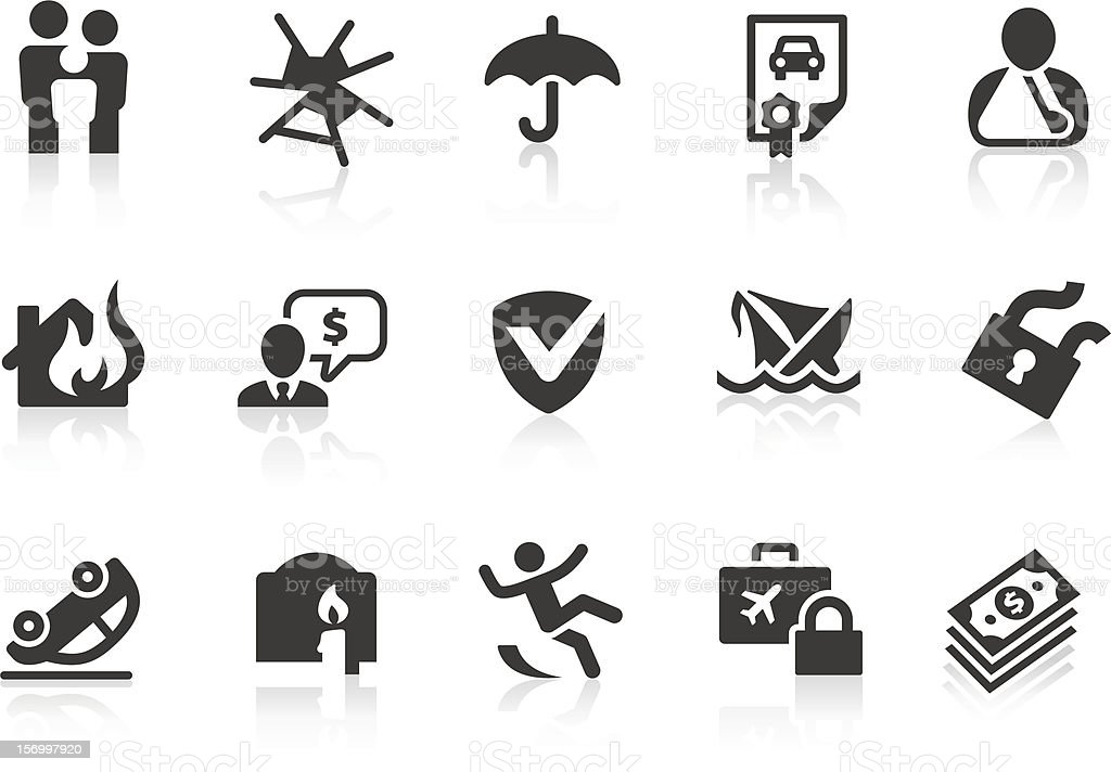 Illustrated set of 15 insurance-related icons vector art illustration