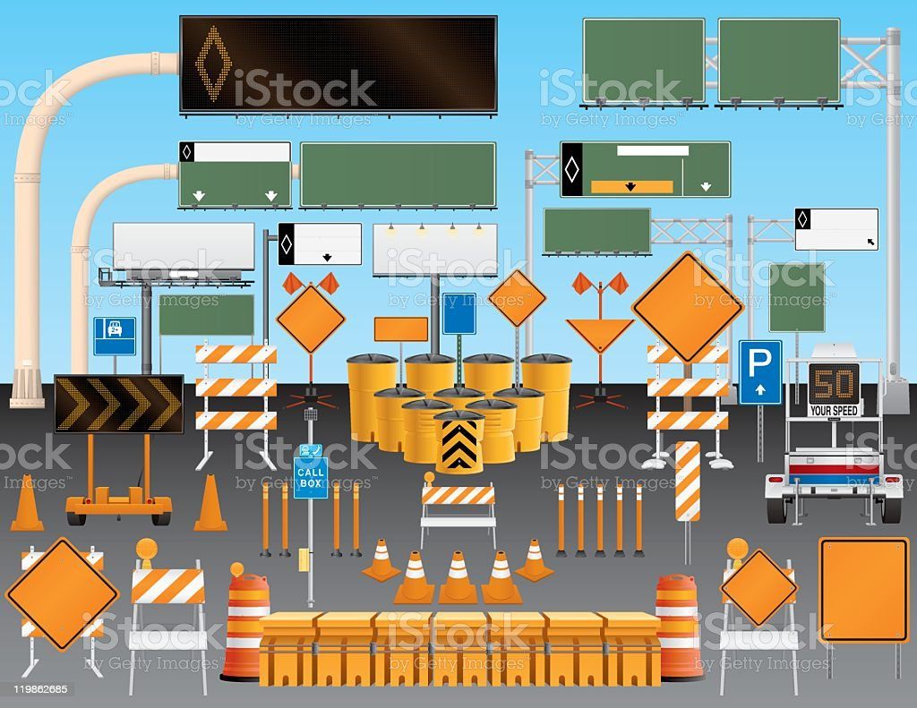 Illustrated set of road and traffic signs vector art illustration