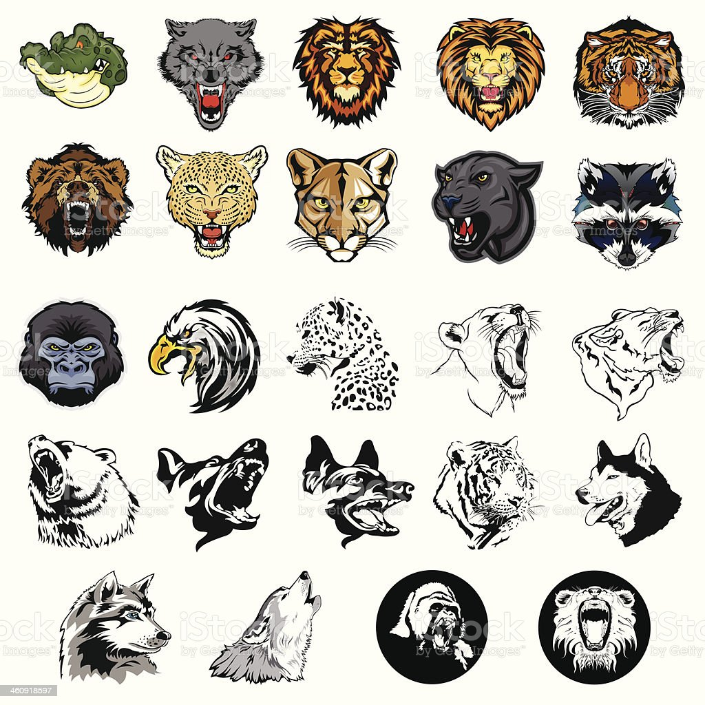 Illustrated set of wild animals and dogs vector art illustration
