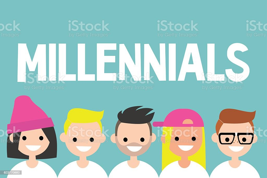 Illustrated sign. Group of smiling millennials vector art illustration