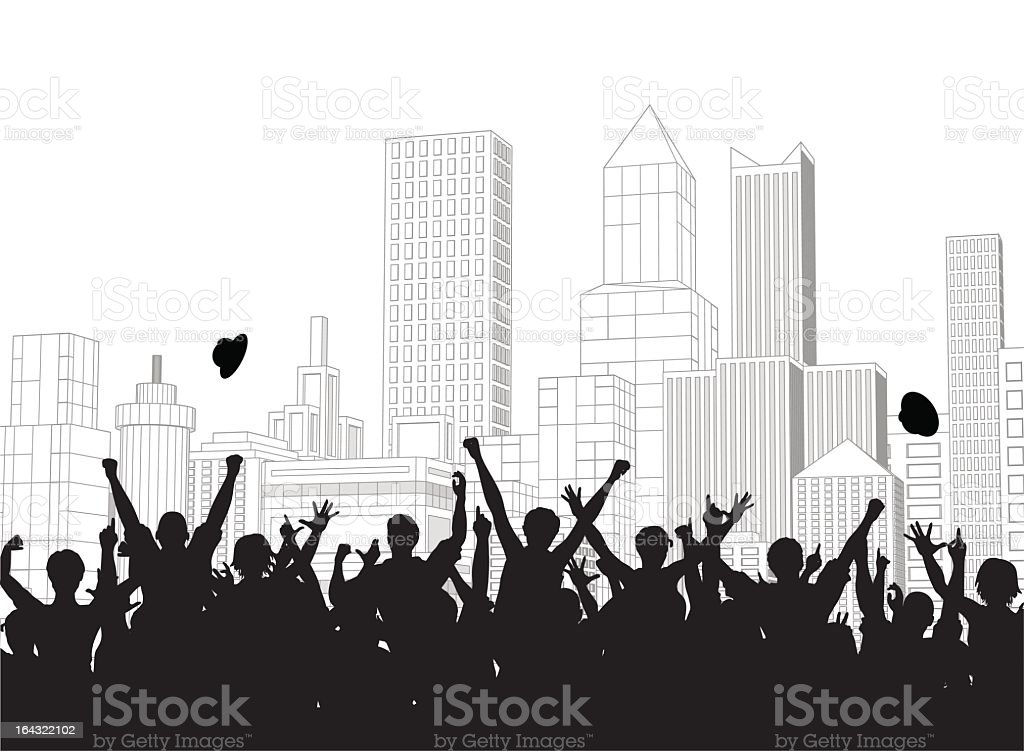 Illustrated silhouettes of crowd celebrating over cityscape royalty-free stock vector art